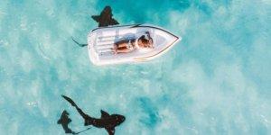 opblaasbootje boven haaien
